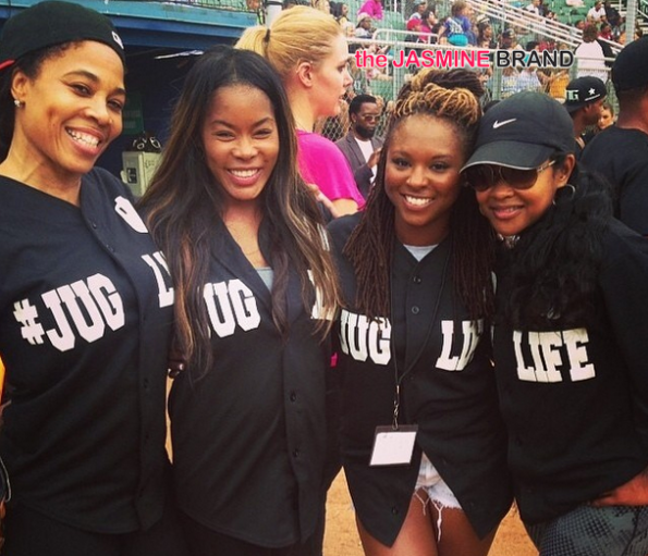 dollphace golden brooks torrei hart and lisa wu jug life charity softball game 2014-the jasmine brand
