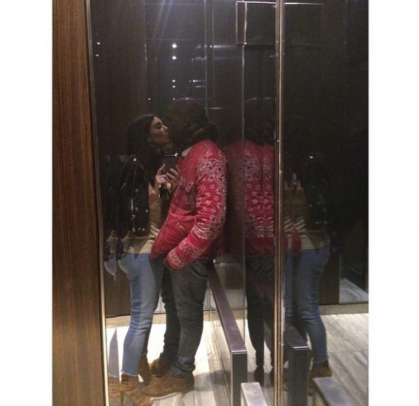 kim kardashian and kanye west-elevator kiss-the jasmine brand