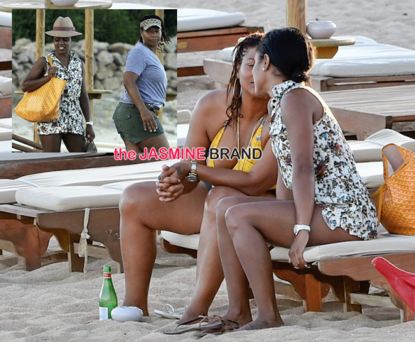 queen latifah-girlfriend share rare private moment on the beach-the jasmine brand