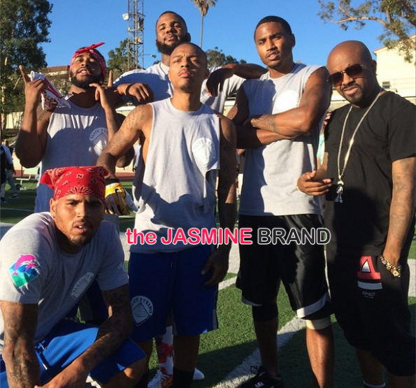 the game-omarion-bow wow-trey songz-chris brown-quincy-flag football charity game 2014-the jasmine brand
