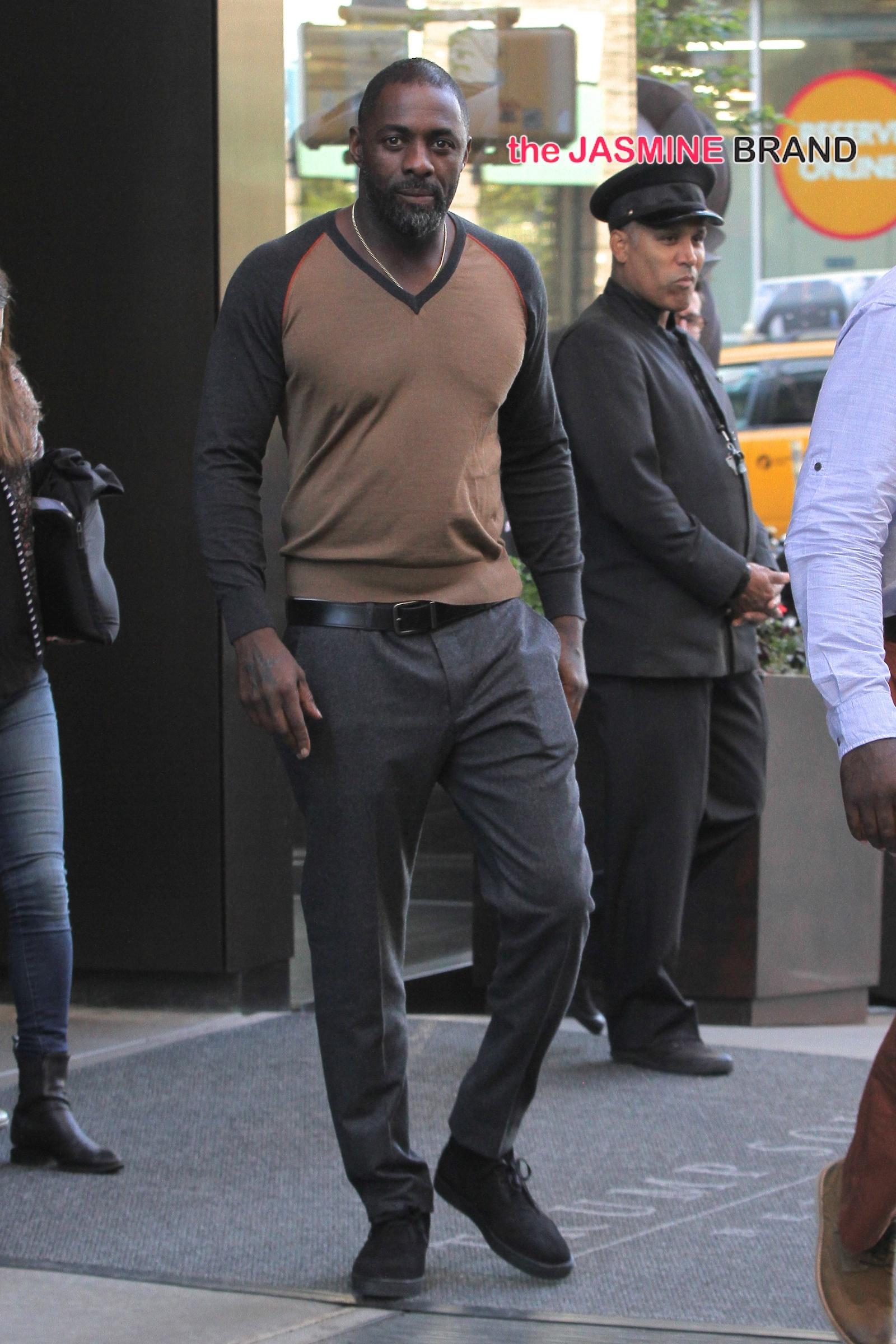Idris Elba spotted this evening leaving his SoHo hotel