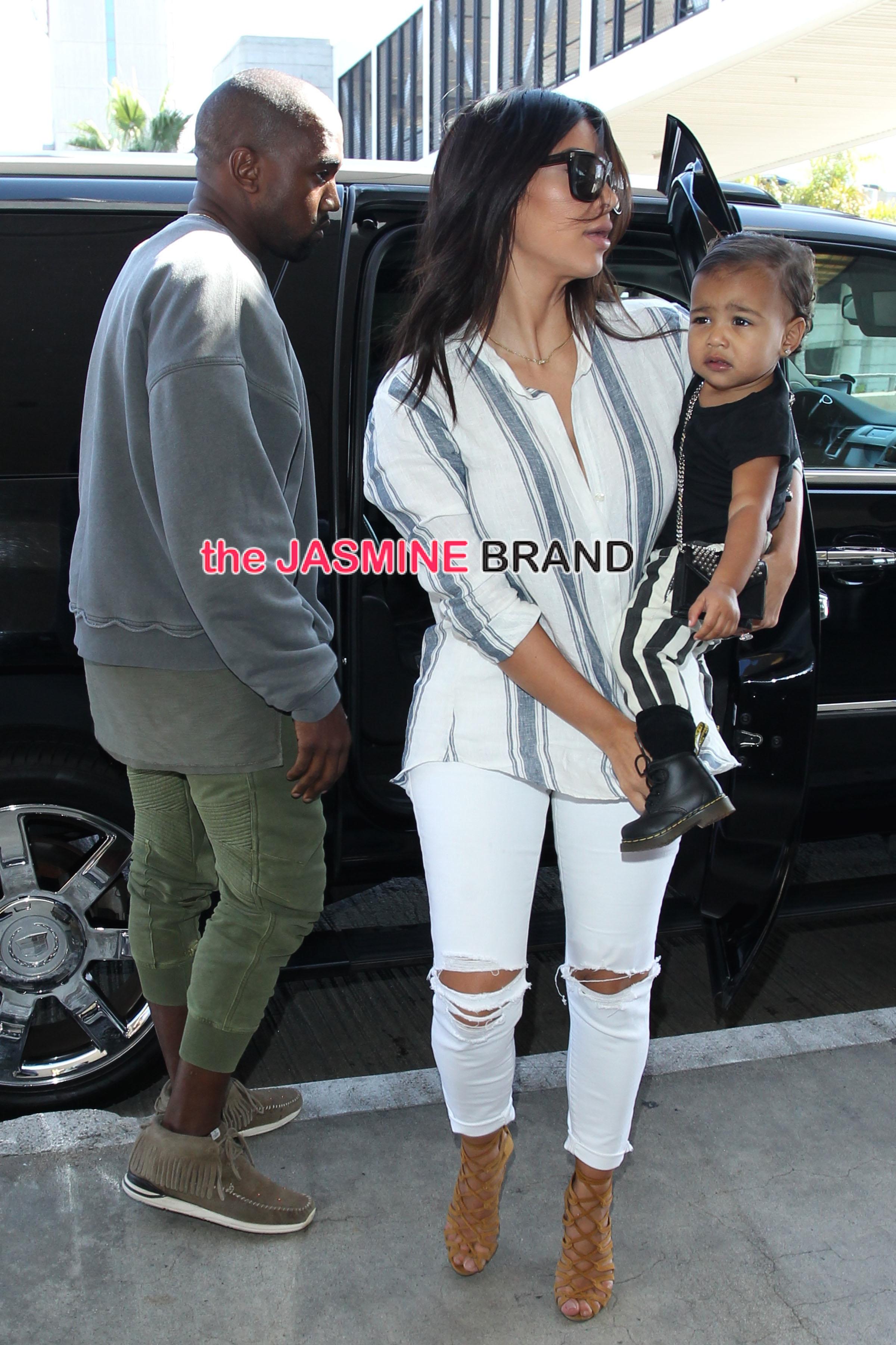 Kim Kardashian and Kanye West depart LA with daughter Nori