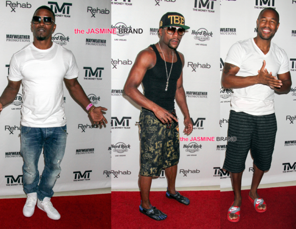 jamie foxx-floyd mayweather-tank-las vegas pool party-maidana fight round 2-the jasmine brand