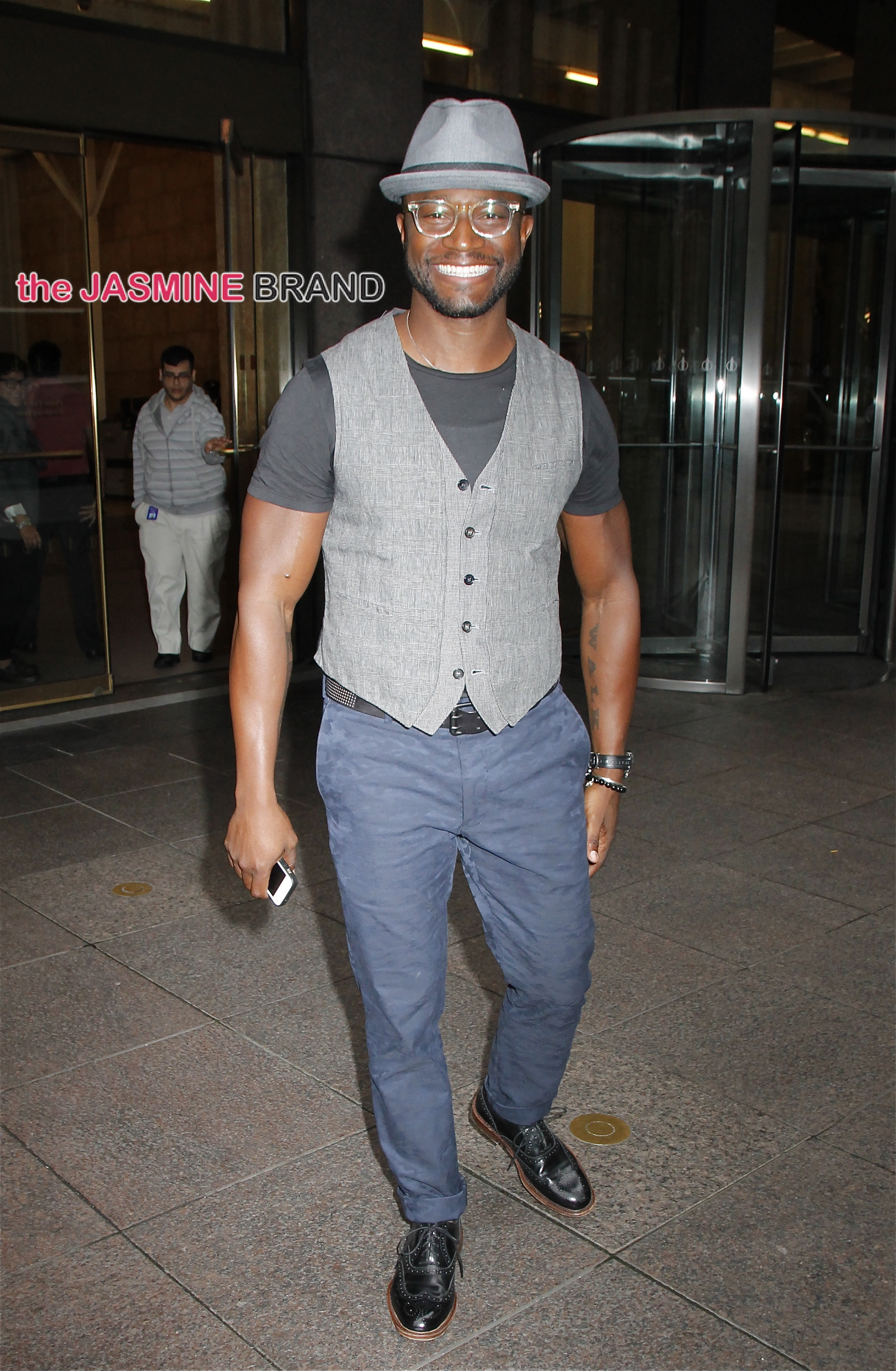 Actor Taye Diggs leaves Sirius XM studios in NYC