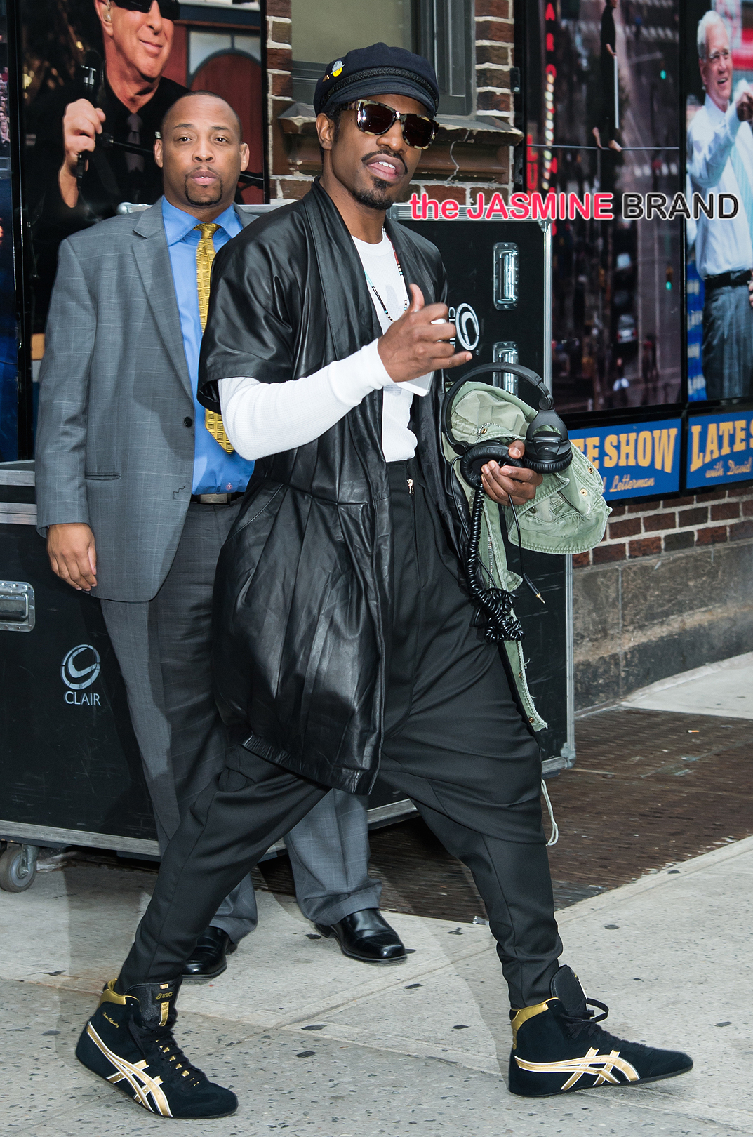 Andre 3000 and Johnny Galecki are seen leaving the 'Late Show With David Letterman' in New York