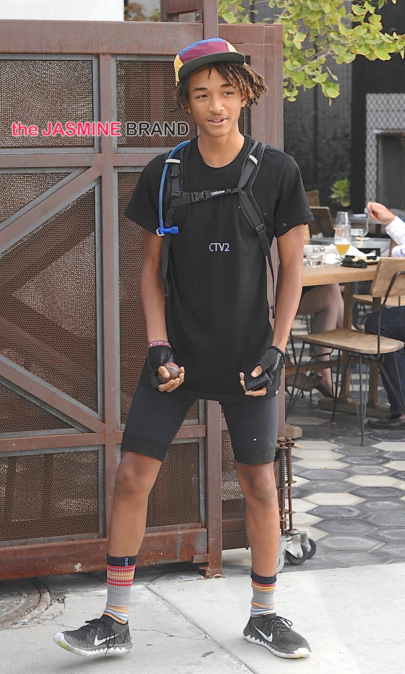 Jaden Smith exits from Zinque restaurant on Melrose