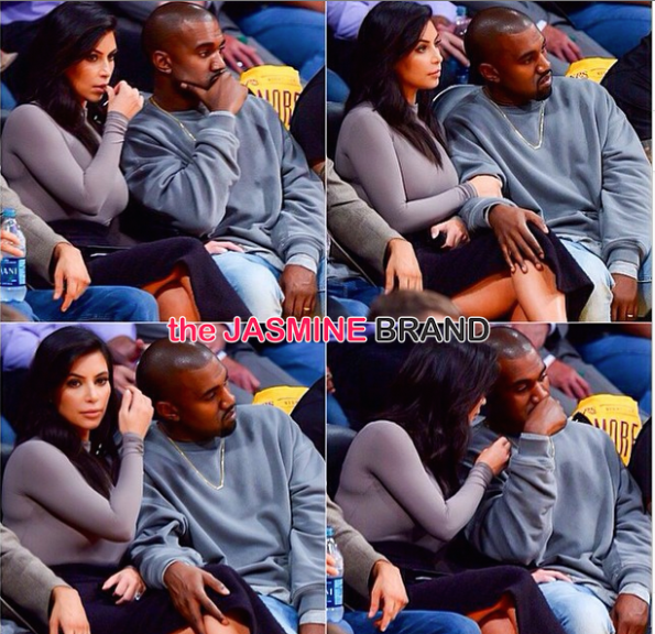 Kim Kardashian-Kanye West-Lakers Rockets game 2014-the jasmine brand