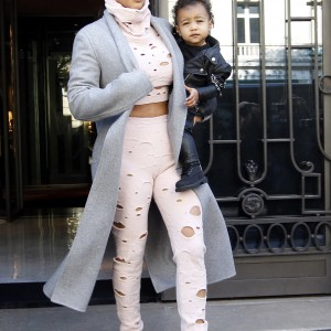 Kim Kardashian and North West out in Paris