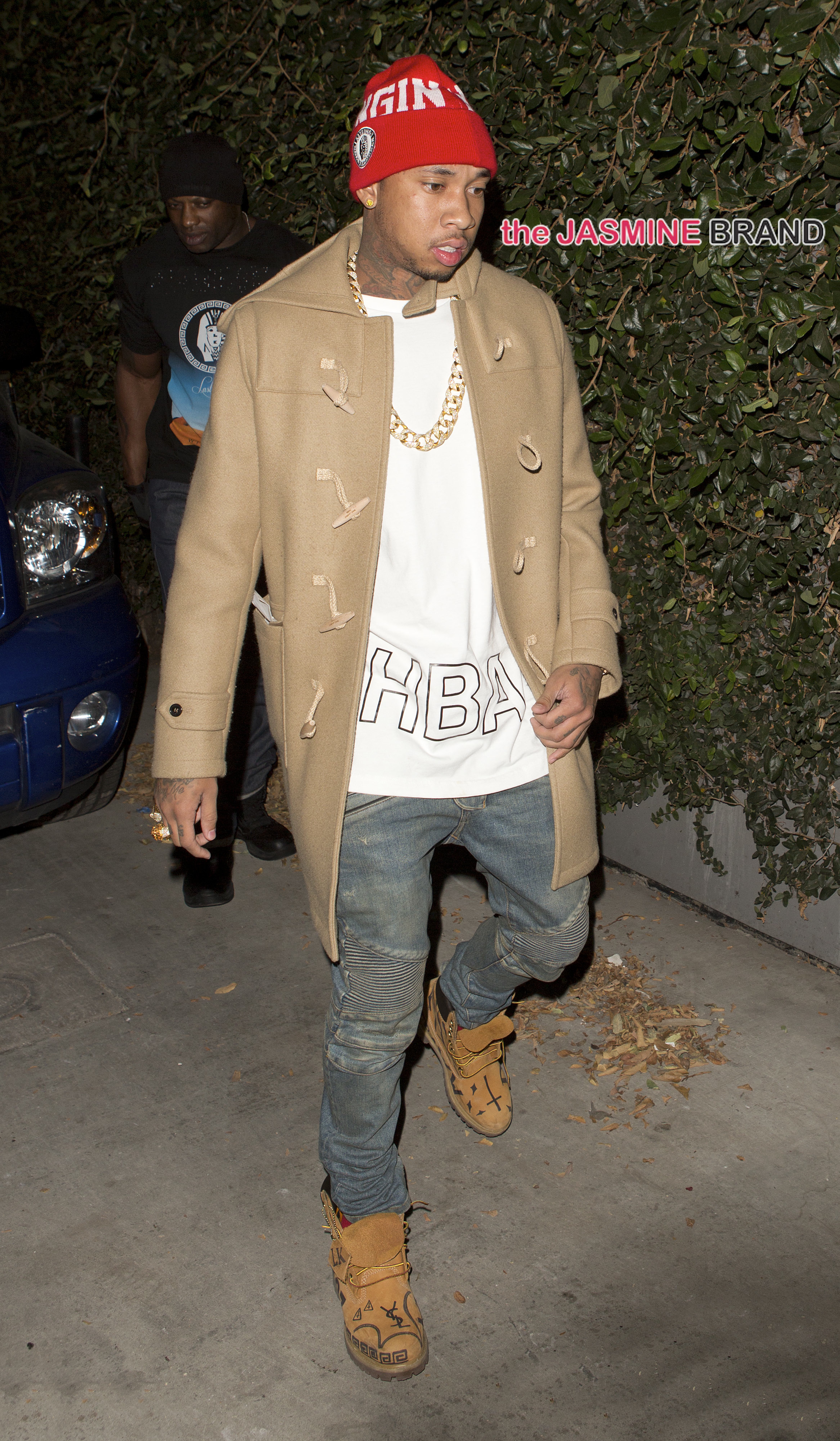 Rapper Tyga was seen arriving at Hooray Henry's Night Club in West Hollywood, CA