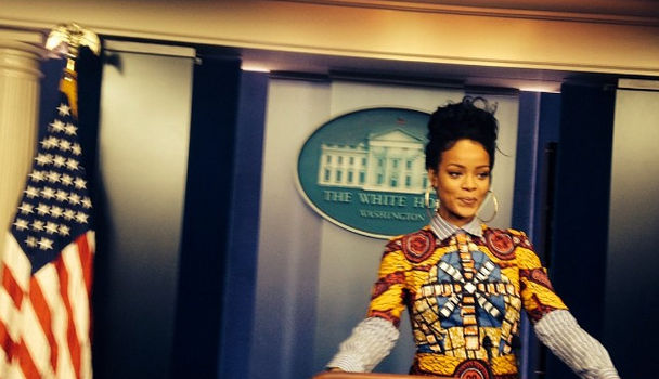 West Wing Posse! Rihanna Reenacts 'Scandal' During White House Visit [Photos]