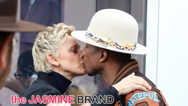 Pucker Up! Pharrell & Ellen DeGeneres Kiss At Producer's Hollywood Walk of Fame