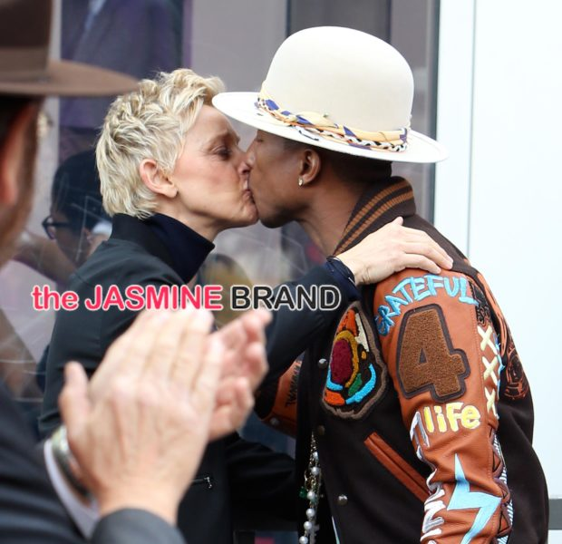 Pucker Up! Pharrell & Ellen DeGeneres Kiss At Producer's Hollywood Walk of Fame