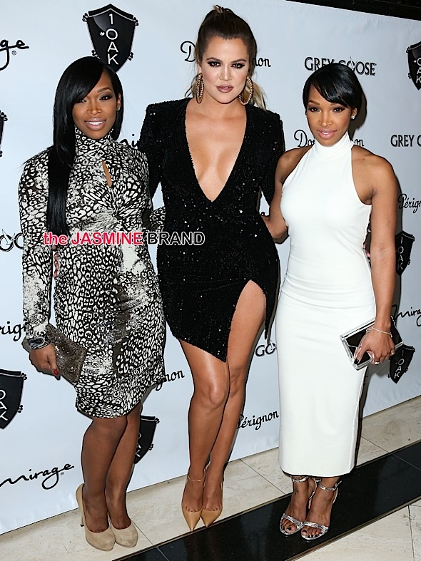 Khadijah Haqq, Khloe Kardashian and Malika Haqq arrive at a New Year's Eve Party hosted by Khloe Kardashian