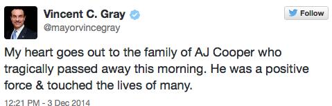 Mayor Vincent Gray-AJ Cooper Tweet-2014-The Jasmine Brand