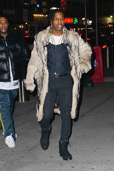 ASAP Rocky arrives at the Knicks game in NYC