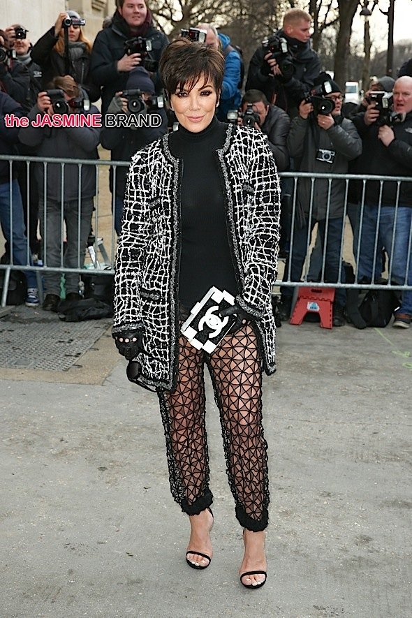 Kris Jenner wearing see-through mesh pants at the Chanel Fashion Show in Paris
