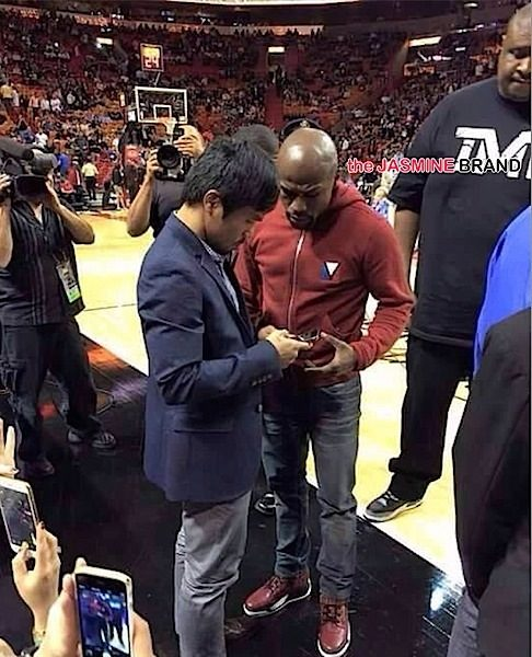 Mayweather & Pacquaio Play Nice, Exchange Numbers At Miami Heat Game [Photos]