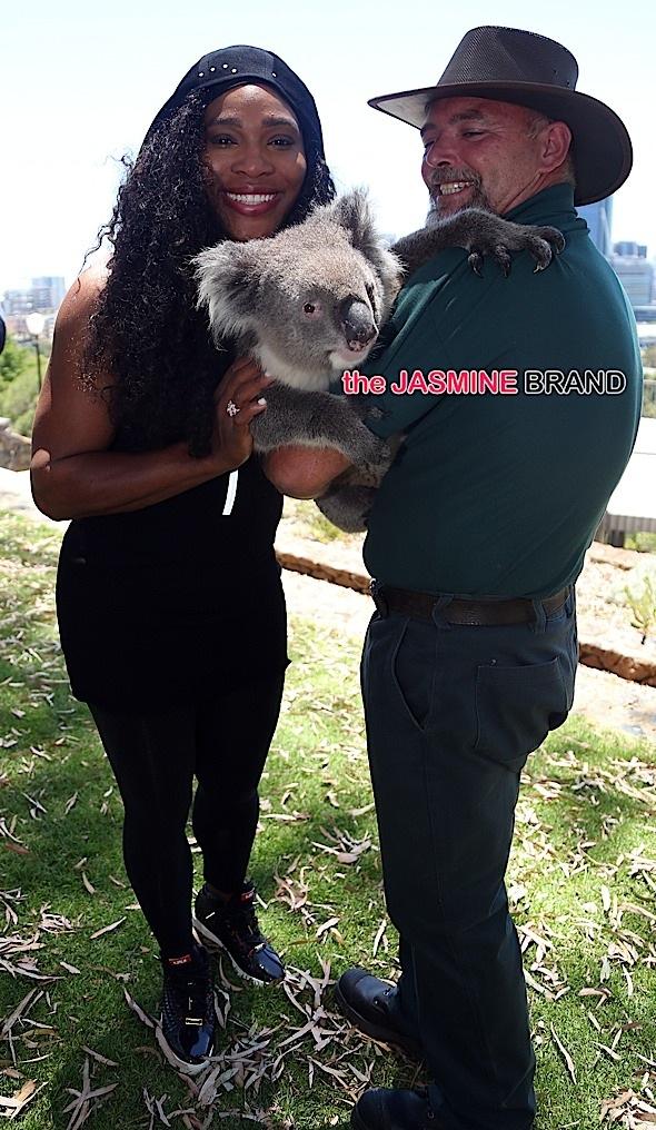 Serena Williams meets Sunshine the Koala at Kings Park in Perth