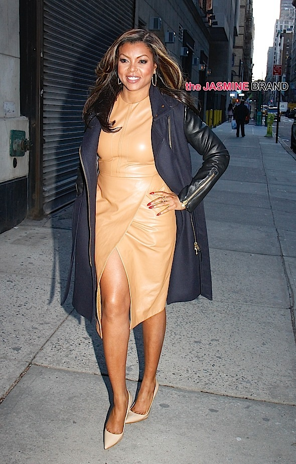 Wearing a tan leather dress, Taraji P. Henson arrives at 'The Wendy Williams Show' in NYC