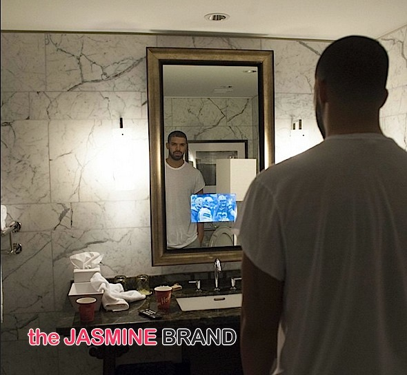 drake-watches the game from the bathroom-the jasmine brand