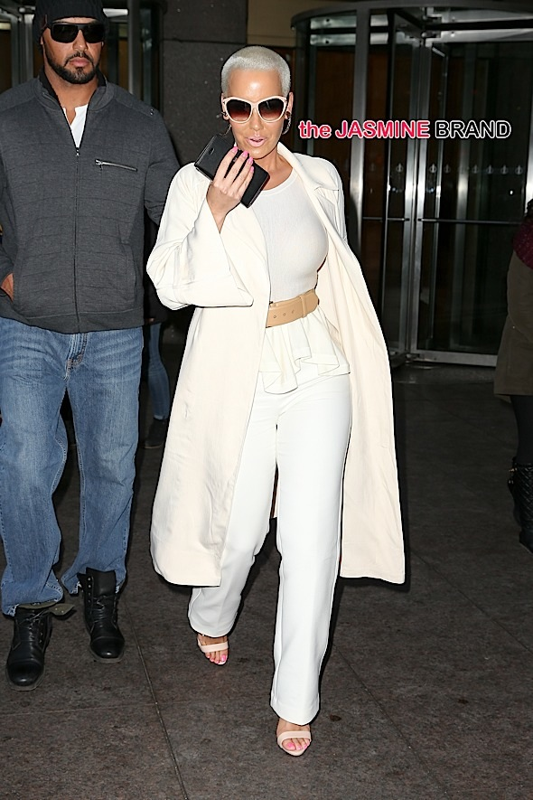 Amber Rose spotted wearing a cream outfit while leaving SiriusXM Radio in New York City