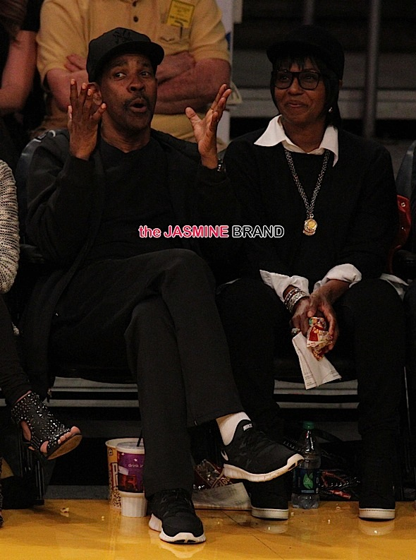 Denzel Washington watches the Lakers win a game
