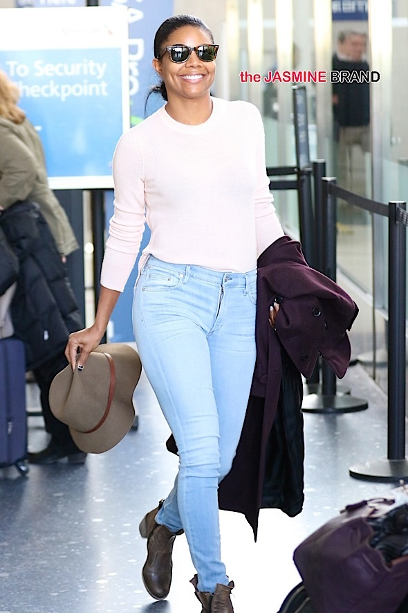 Gabrielle Union arrives at LAX from the frigid NYC temperatures