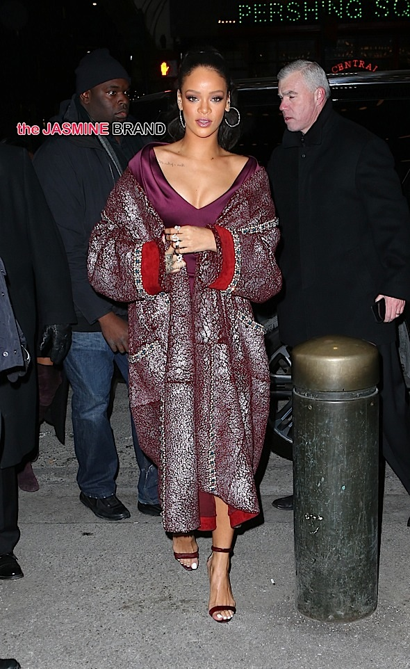 Rihanna attends the Zac Posen Fall 2015 fashion show in New York City, NY