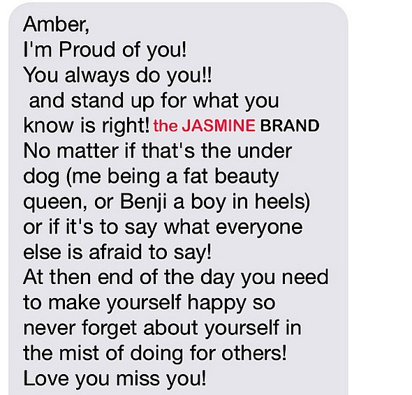 amber rose-shares text message-the jasmine brand