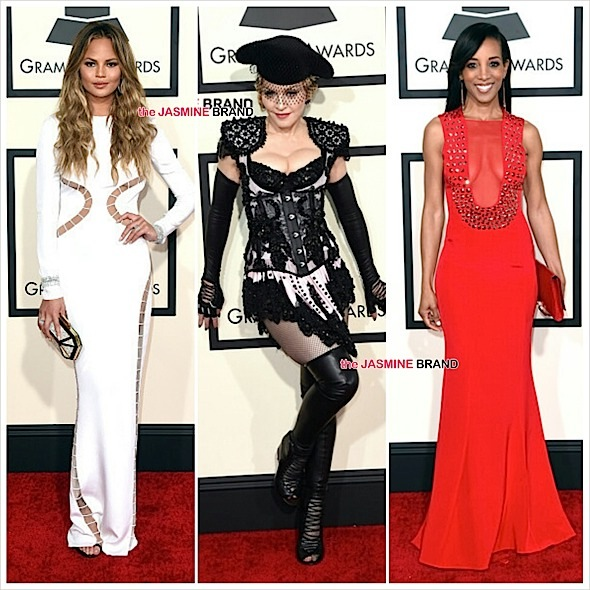 chrissy teigen-madonna-shaun robinson-the grammys red carpet 2015-the jasmine brand