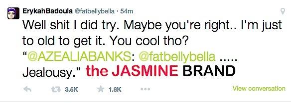 erykah badu vs azealia banks-twitter beef-the jasmine brand