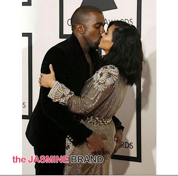 Married Folk Behavior: KimYe Kiss, Grab A** & Get Flirty On Grammy's Red Carpet [Photos]