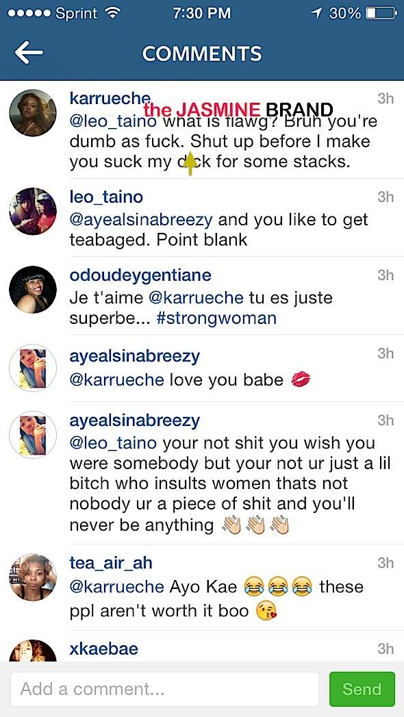 karrueche tran-checks a critics on instagram-the jasmine brand