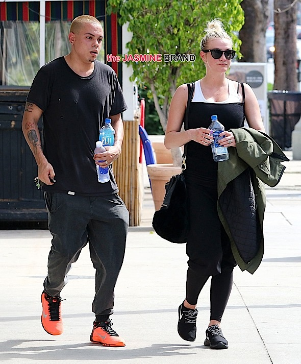 *NO DAILY MAIL* Ashlee Simpson and husband Evan Ross leaving the gym in Studio City