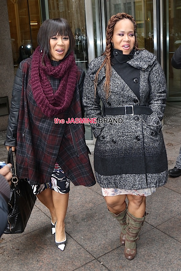 Erica and Tina Campbell, collectively known as gospel duo Mary Mary, were seen doing promotional runs this morning in NYC