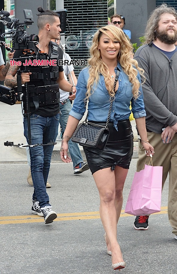 Hazel E of the popular reality show Love and Hip Hop: Los Angeles is spotted as she films an episode along  Melrose Avenue in West Hollywood, Ca