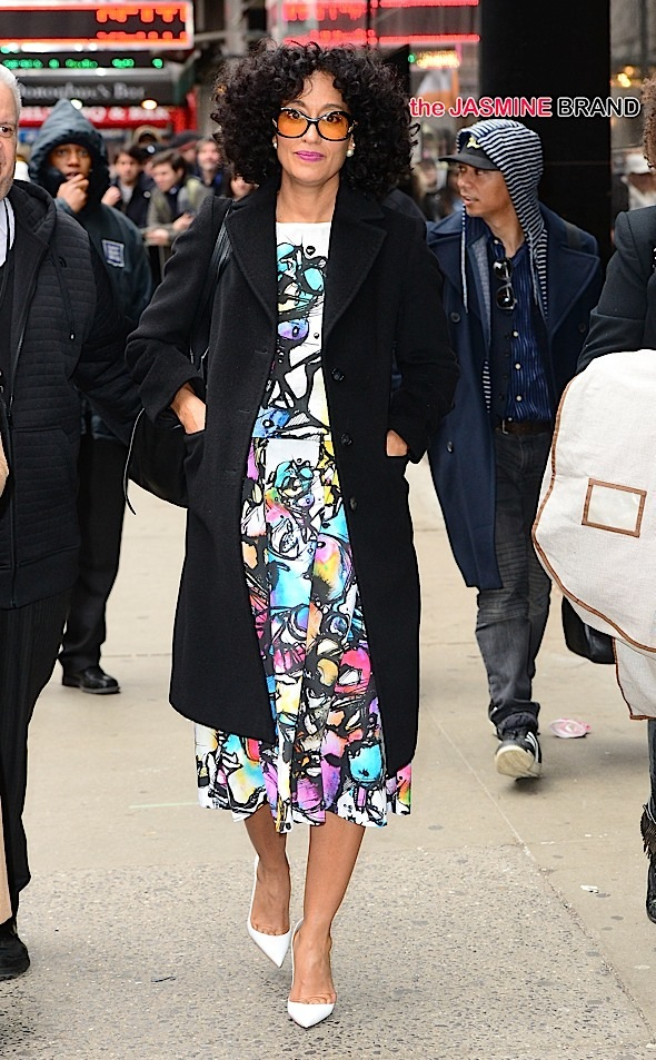 Tracee Ellis Ross coming out of 'Good Morning America' in NYC