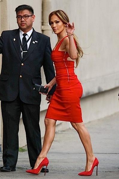 jlo-red dress-jimmy kimmel live-the jasmine brand