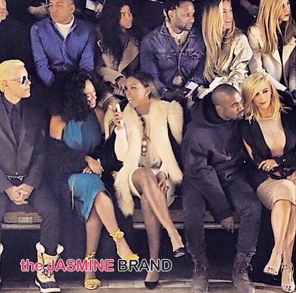 solange knowles-kelly rowland-kim kardashian-kanye west paris fashion week 2015-the jasmine brand