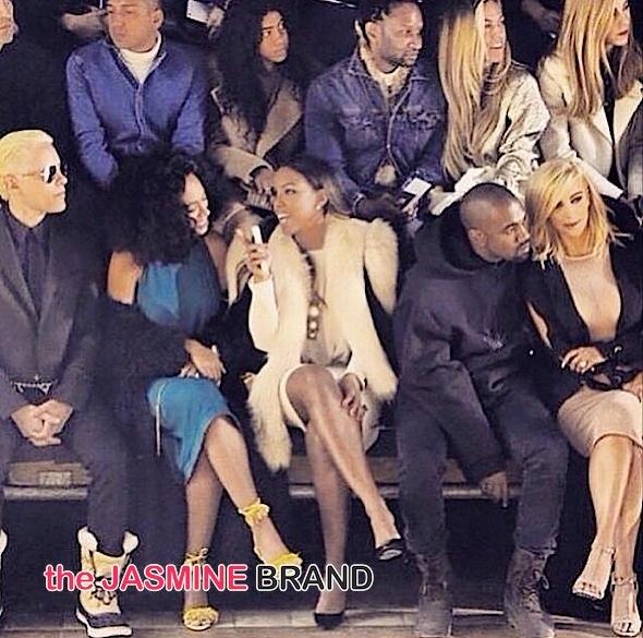 solange knowles-kelly rowland-kim kardashian-kanye west paris fashion week 2015-the jasmine brand