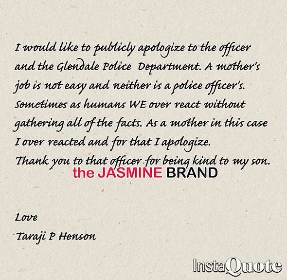 taraji p henson-apologizes instagram-glendale police-son racially profiled-the jasmine brand