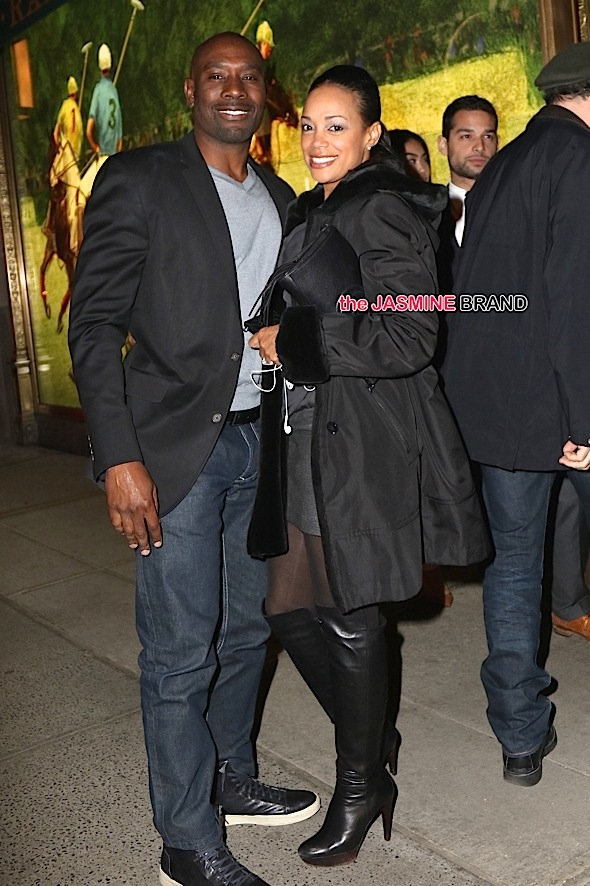 Morris Chestnut and wife, Pam Byse, were spotted arriving for dinner with friends at The Polo Bar this evening in NYC