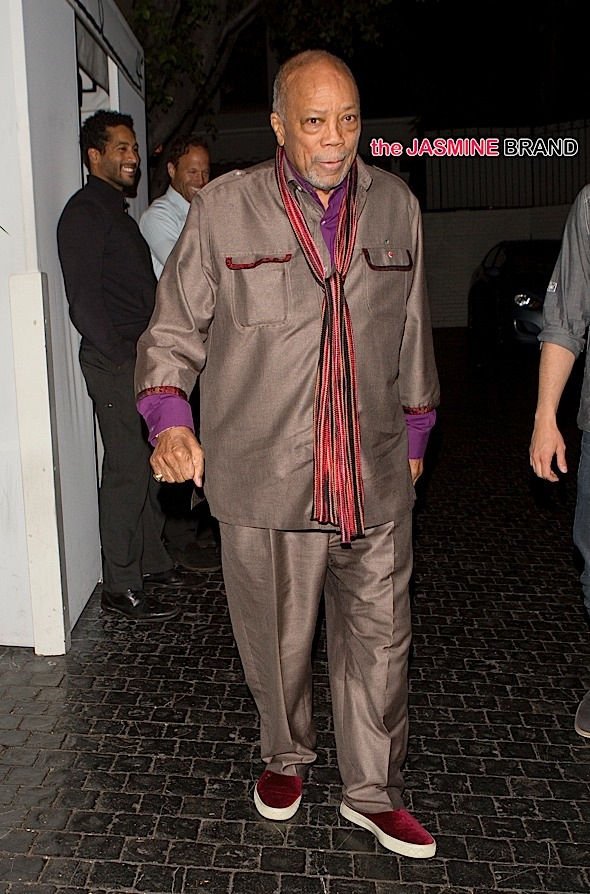 Quincy Jones was seen leaving the Chateau Marmont Hotel in West Hollywood, CA
