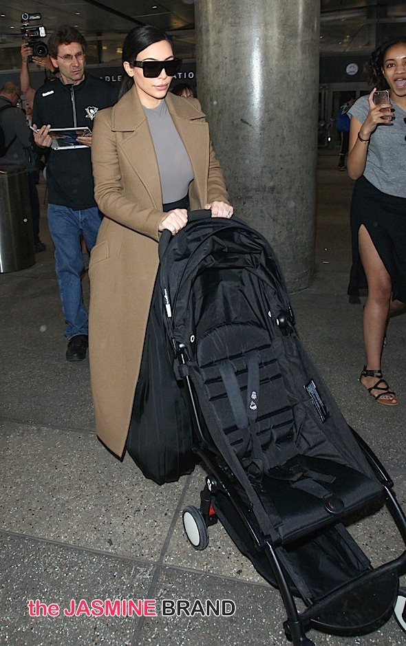 Kim Kardashian, Kanye West and North West Sighted Arriving at LAX on April 16, 2015