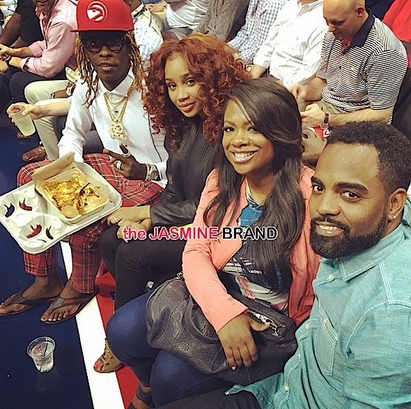 Young Thug-Kandi Burruss-Todd Tucker-hawks game-the jasmine brand