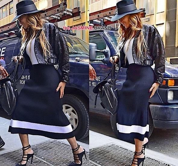 beyonce in nyc-wearing victoria beckham skirt-the jasmine brand