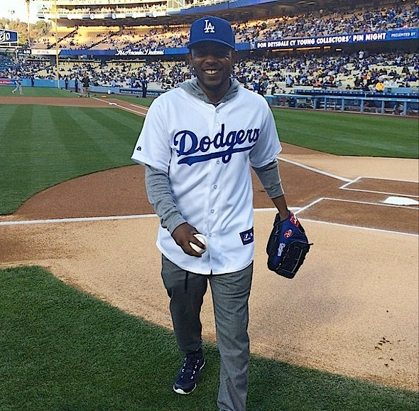 kendrick lamar throws first pitch dodgers-the jasmine brand