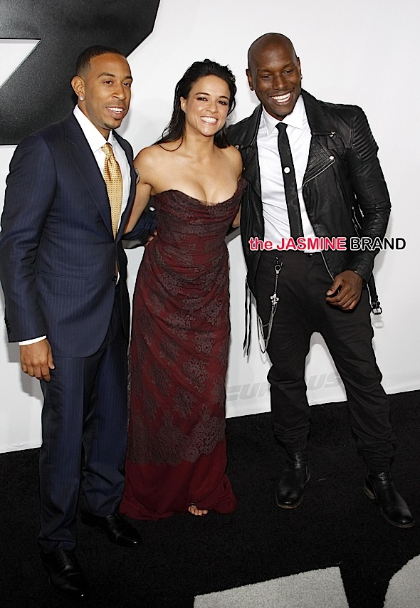 Ludacris, Michelle Rodriguez and Tyrese Gibson at the Furious 7 LA premiere