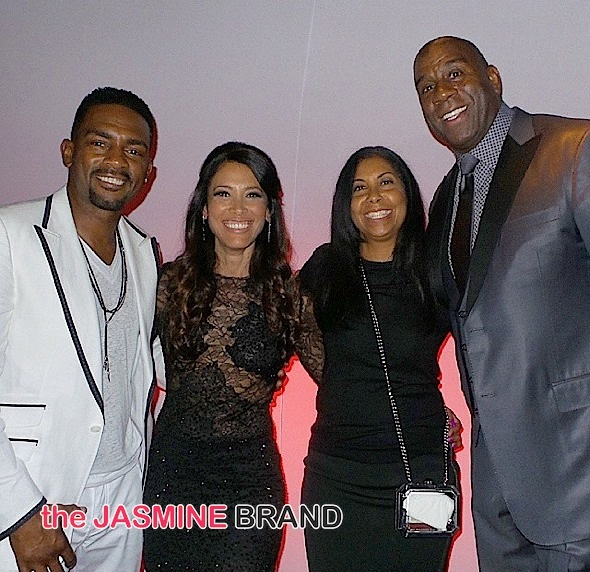Bill, Kristen (Bill's wife), Cookie and Magic Johnson
