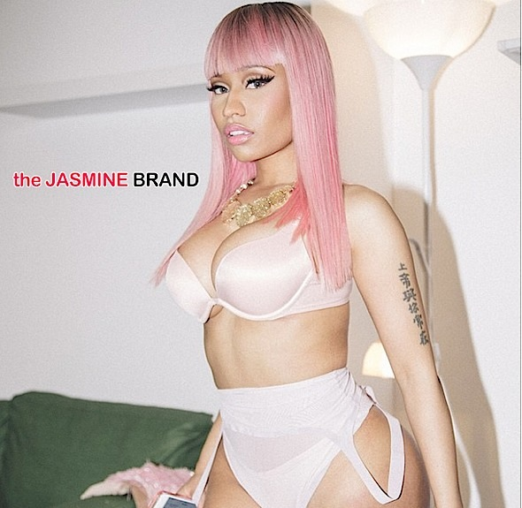 nicki minaj-poses in pink lingerie-pink wig-the jasmine brand